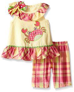 Bonnie Baby Baby Crab Appliqued Seersucker Playwear Set, Yellow, 0-3 Months