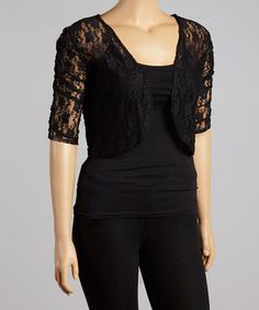 Look what I found on #zulily! Black Lace Shrug - Plus by Star Vixen #zulilyfinds