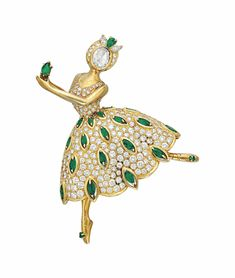 "A Diamond and Emerald ""Ballet Precieu"" Brooch by Van Cleef & Arpels. Van Cleef Arpels, Van Cleef And Arpels Jewelry, Diamond Tops, Emerald Diamond, Diamond Face, Trendy Necklaces, Tiny Dancer, Vintage Brooches, Jewelry Collection"