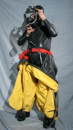 Dark yellow respirex Type A hazmat. Suit with blimp for internal SCBA Hazmat Suit, Motorcycle Suit, Heavy Rubber, Character Costumes, Suit Fashion, Catsuit, Suits, How To Wear, Fashion Design
