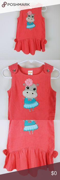 Gymboree Girls Jumper Dress Hippo Embroidery 2T Brand: Gymboree Buyer: Girls Item: Dress Material: Cotton Fit: Jumper Dress Details: Corduroy, rhinestones, buttons, Hippo embroidery, ruffled hem Size: 2T Color: Pink, Blue Condition: Excellent pre-owned condition, no flaws  Location: H24 Weight: FC 5 oz Gymboree Dresses Casual