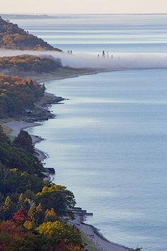 Lakeshore in Arcadia, Michigan from the Arcadia Overlook. Photo by Twenty Two North Gallery