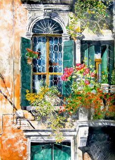 "vertical garden series / geranium balcony / venice (3) 30"" x 22"" micheal zarowsky / watercolour on arches paper (private collection)"