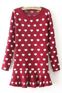 Heart Embroidery Long Sleeve Pleated Hem Sweater Dress  , http://fashionille.com/ #maykool sweater dress,  #stylish knit,  woman sweater