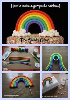 Fondant Rainbow by The Greedy Baker - The Cake Directory - Tutorials Cakes To Make, How To Make Cake, Cake Decorating Techniques, Cake Decorating Tutorials, Cookie Decorating, Decorating Supplies, Fondant Cakes, Fondant Figures, Cupcake Cakes