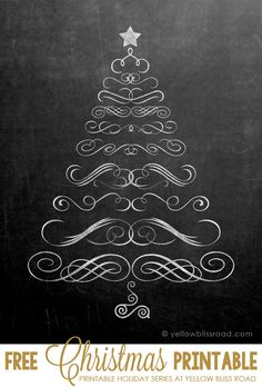 Free Printable Chalkboard Christmas Tree - so cute! I'm going to do this with different sizes of swirls on the front door! or on the windows.