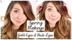 Spring Makeup Tutorial   Gold Eyes & Nude Lips   Zoella