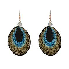 Light Blue Peacock Feather Cloth Earrings