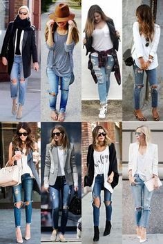 A diferença que uma calça rasgada faz | Sutileza Feminina Fall Outfits, Summer Outfits, Casual Outfits, Cute Outfits, Denim Fashion, Fashion Outfits, Womens Fashion, Street Fashion, Ripped Jeans Outfit