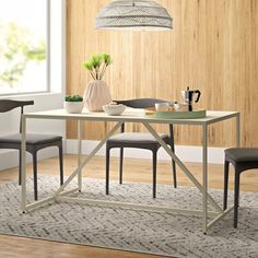 11 Stunning Home Offices With Feminine Desks - Chrissy Marie Blog Contemporary Dining Table, Solid Wood Dining Table, Dining Table In Kitchen, Dining Room, Table And Chairs, A Table, Dining Chairs, Wood Storage Bench, Table Height