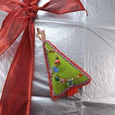 Felt Tree Ornament 5 inches 12.5cm Tall including Top by BeadDweeb, $15.00