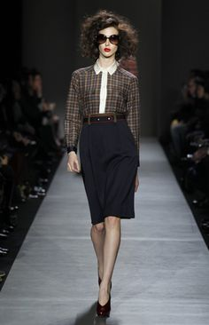Black Iris Multi Abigail Plaid Top and Prairie Indigo Multi Spongey Wool twill skirt Marc by Marc Jacobs Fall 2013.
