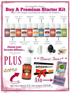 Looking to try Essential Oils? Pick up 11 bottles of Young Living Essential Oil, a Diffuser, a BONUS Bottle of Cedarwood (great for immune and scalp support!), $20 Amazon Gift Card, Bottle Labels + more - only through 8/31!