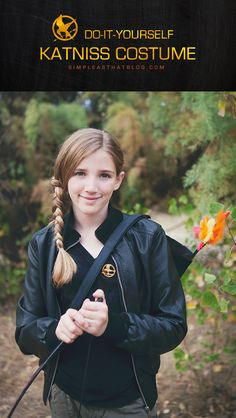 Put together a do it yourself Katniss Everdeen costume quickly and easily this Halloween using thrift store finds. Best Diy Halloween Costumes, Cute Costumes, Homemade Halloween, Disney Costumes, Creative Costumes, Halloween Ideas, Halloween Parties, Halloween Stuff, Happy Halloween