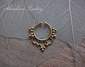 Septum Ring, Fake Septum Piercing, Indian Nose Ring, Tribal Faux Septum Ring, Brass Septum Jewelry