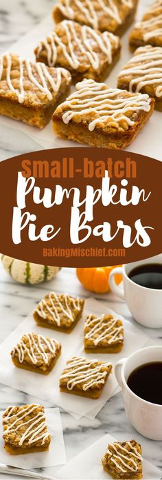These small-batch Shortbread Pumpkin Pie Bars are everything you love about pumpkin pie, but with an easy shortbread base, crunchy streusel topping, and sweet cream drizzle! Recipe includes nutritional information. From http://BakingMischief.com