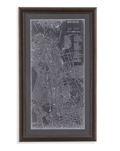 Graphic Map of Boston Framed Photographic Print