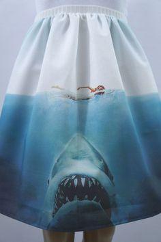 Perfect skirt for shark week. Beware of Sharks full skirt made to order by NerdAlertCreations Shark Clothes, Shark Bait, Classic Monsters, Great White Shark, Shark Week, Nerd, Cute Outfits, My Style, Skirts