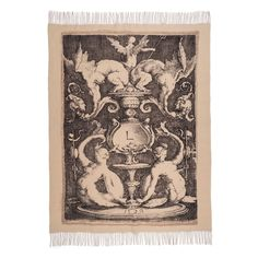 This elegant throw was adapted from a 1528 engraving in The Met collection by Lucas van Leyden (Netherlandish, ca. 1494-1533), one of the great masters of Renaissance engraving.
