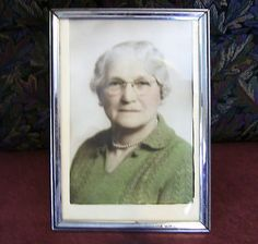 Easel Picture Frame Silver Plate Table Top Photo  Senior Lady Vintage 1940s