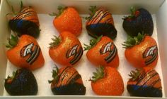 Denver Broncos Strawberries...I need these for Super Bowl Sunday!!