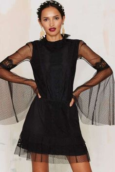 Nasty Gal In Your Lace Bell Sleeve Dress