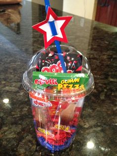 Pizza Party Favor- Gummy Pizza Candy, Gummy Coke Bottles & Pop Rocks in dome lid cup