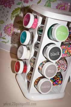 Spice rack turned into Sprinkle Display/Holder! From http://www.20goingon80.com/2011/08/my-secret-obsession-with.html