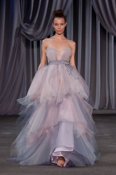 46f296c31bb Pouffy lavender Christian Sirano ombre tulle wedding dress with a low wispy  neck