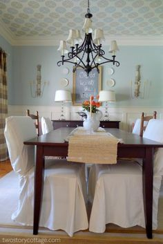 Two Story Cottage Dining Room--color scheme and ceiling