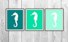 Seahorse Trio - Set of 3 Teal Green Seafoam Ocean Prints - Natical Home Decor - Bathroom, Bedroom, Beach House - Sea Life Silhouettes