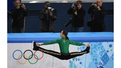 """American Jason Brown wows the crowd with his free skate to """"Riverdance"""" in the team figure skating event."""