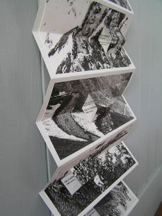 Immortality in the Mountains by Helen Malone. 2008. Vertical hanging concertina book with offset pop-up sections. Digital prints on Fabriano paper with black buckram covers. The book rests on the floor and reads from the bottom upwards, and celebrates the mountain stages of cycling races and these remarkable feats of endurance. 2 m x 28.5 cm.