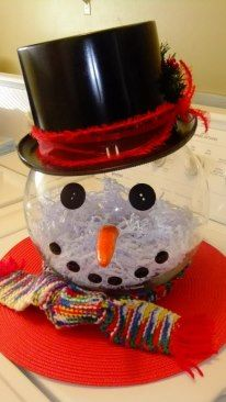 Made from a round fishbowl vase & buttons , Clay that you bake , & a toy magician hat decorated with some ribbon :) It will be a great container for my Cake balls this Christmas :)