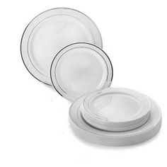 White Silver Rim Dinnerware Value Set Comes in Gold or Silver Trim 120 dinner u0026 120 dessert/salad plates for 99 dollars  sc 1 st  Pinterest & Bulk Wedding Disposable Plastic Plates silverware and wine cups ...