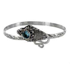 Sterling Silver Blue Topaz Round Dragon Bracelet - Fire & Ice