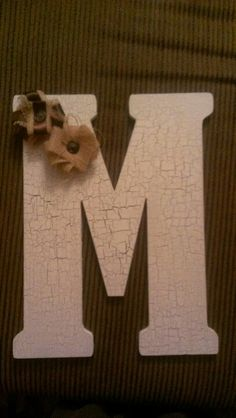 Letter painted either black white or gray with crackle mod podge. As for the embellishment, something in a opposite color.