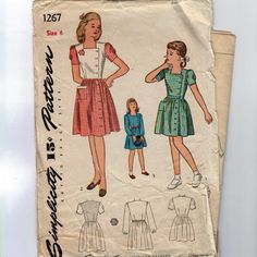 1940s Vintage Sewing Pattern Simplicity 1267 Girls Side Button Dress Size 6 Breast 24 40s