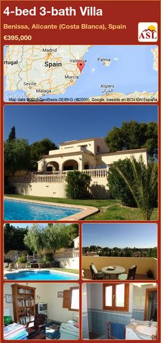 Villa for Sale in Benissa, Alicante (Costa Blanca), Spain with 4 bedrooms, 3 bathrooms - A Spanish Life Alicante, Murcia, Heating And Air Conditioning, Terrace, Bbq, Spanish, Villa, Mansions, Bedroom