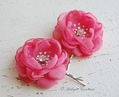 Bridesmaid Hair Flowers - Flower Girl Hair Bobby Pins -  Wedding Mini Hair Flower Bobby Pins - Christie in Rose