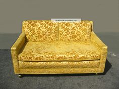 Vintage Hollywood Regency Orange & Gold Floral Velvet Loveseat Sofa Mid Century Post-1950 photo
