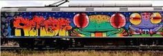 Electric train grafitti