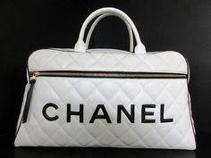 CHANEL Auth Boston Bag White Black Leather Ladies Free Ship Excellent #7667 #CHANEL #TotesShoppers