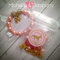 """Pink & Gold Unicorn favors!  All my sparkle bracelets come packaged ready to hand out or put in """"Goody Bags""""...."""