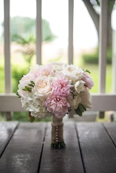Pastel pink wedding bouquet with roses and peonies {2 Cool Flowers - Houston-area Florist}
