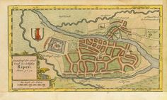"""""""Grundriss der Stadt und des Schlosses Ripen Anno 1651"""".Plan of city and castle of Ribe, Denmark. Hand-colored opper etching dated 1651 and published in Johannes Mejer atlas of Schleswig and Holstein. Husum, 1652. Original antique print For a 30% discount enter MAPS30 at chekout Lower and right margins have been added Antique Maps, Antique Prints, House Map, 12th Century, Hand Coloring, Denmark, Vintage World Maps, Castle, How To Plan"""