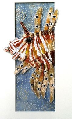 Seed Bead Embroidered Lion Fish.  Seed Beads, Thread, Felt and Fabric.  Eleanorpigman.blogspot.com