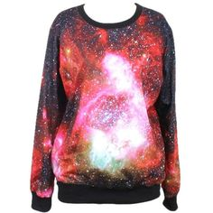 Pink Queen Women's Galaxy Print Roll Neck Pullover Sweatshirt ($18) ❤ liked on Polyvore featuring tops, hoodies, sweatshirts, red sweatshirt, pullover sweatshirt, sweater pullover, galaxy top and galaxy sweatshirt