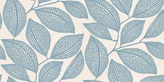 PEBBLE LEAF (MISP1039) - MissPrint Wallpapers - A large leaf trail with pebbled detail in china blue, on an off white background.  Four alternative colours available.  Please request a sample for true colour match and effect.
