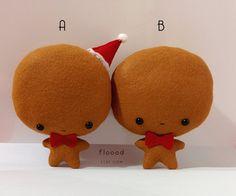 Gingerbread Man Stuffed Toy Christmas Ornament - Kawaii Gingerbread Plush Christmas Decor by Floood on etsy